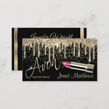 avon- black and gold drip business card