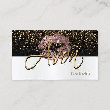 avon - black and white satin dusty rose lips business card