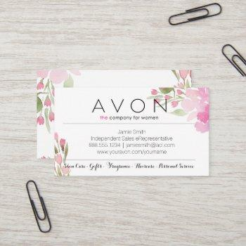 avon business cards floral watercolor