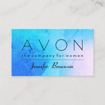 avon hologram blue makeup represent business card
