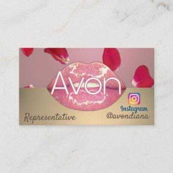 avon instagram logo pink and gold aesthetic roses business card