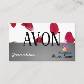 avon instagram logo silver aesthetic roses business card
