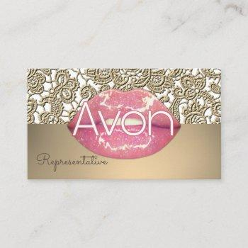 avon personalized pink and gold lace aesthetic business card