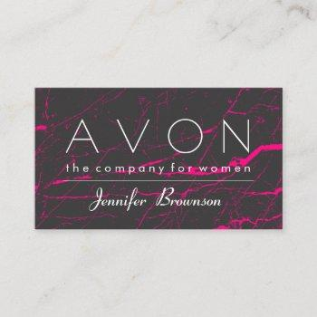 avon pink marble black  makeup representative business card
