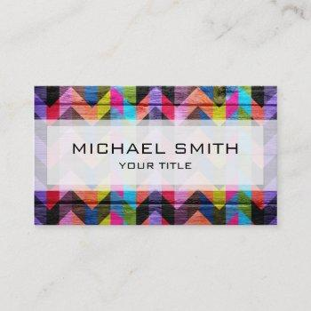 aztec chevron zigzag pattern #2 business card