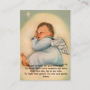baby baptismal remembrance  angel prayer holy card