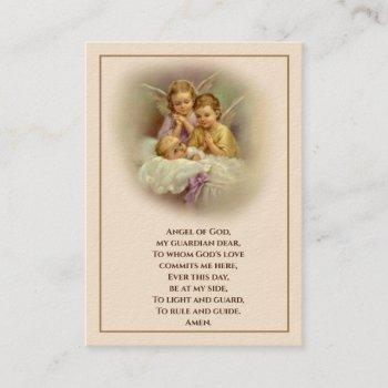 baby baptismal remembrance  angels holy card