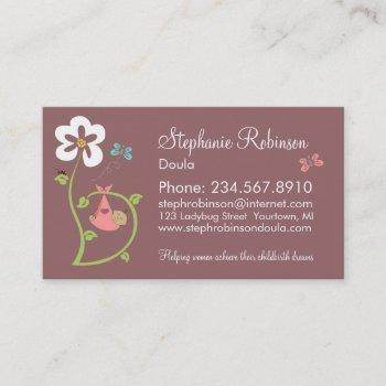 baby bundle in the flowers business card