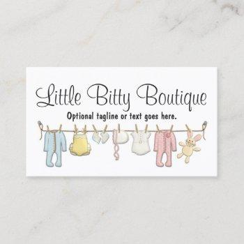 baby clothing clothesline infants sewing boutique business card
