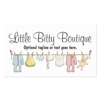 Small Baby Clothing Clothesline Infants Sewing Boutique Business Card Front View