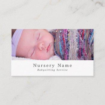 baby sleeping, babysitter, daycare, nursery business card