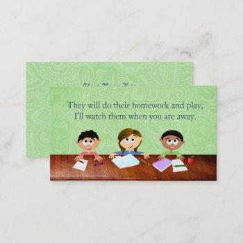 babysitter business cards