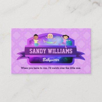 babysitter children business cards