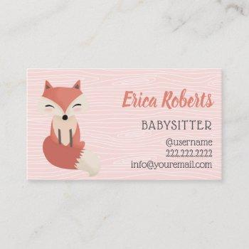 babysitter cute woodland fox babysitting childcare business card