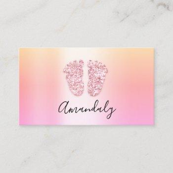 babysitter nanny child daycare feet  ombre business card