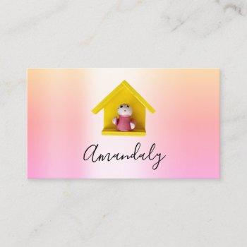 babysitter nanny child daycare pink cute home business card