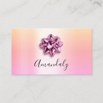babysitter nanny child daycare pink cute ribbon business card