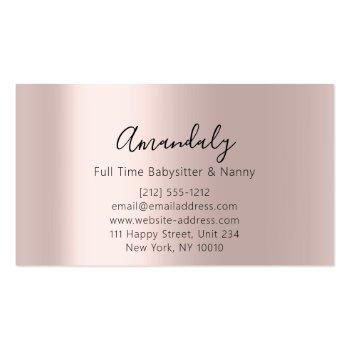 Small Babysitter Nanny Professional Child Daycare Feet Business Card Back View