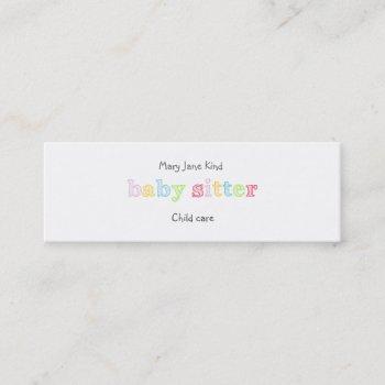 babysitting & child care - customizable mini business card