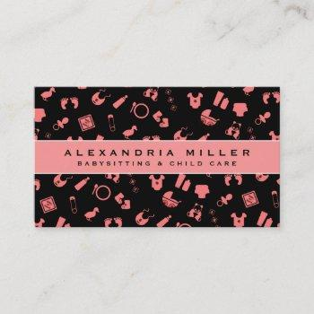 babysitting child care pattern | black & pink business card