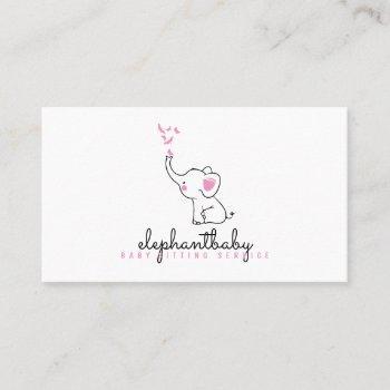 babysitting daycare, nursery, child, elephant business card