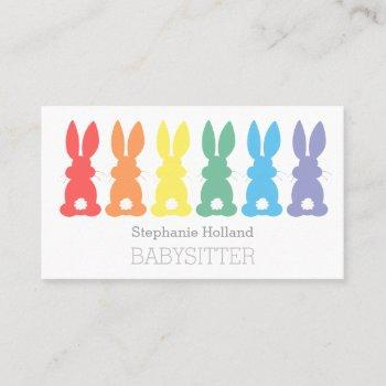 babysitting rainbow bunny babysitter nanny business card