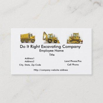 backhoe digger construction business cards