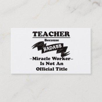 badass teacher business card