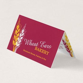 bakers bakery wheat ears red yellow business flyer business card
