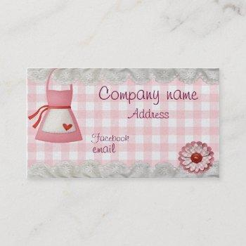 bakery apron checkered business card