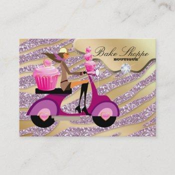 bakery business card zebra pink gold sparkle