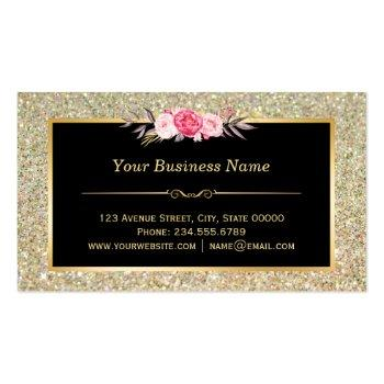 Small Bakery Chef Whisk Logo   Floral Gold Glitter Business Card Back View