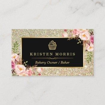 bakery cupcake logo | floral gold glitter sparkles business card