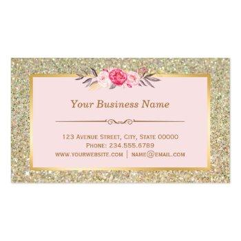 Small Bakery Cupcake Logo   Floral Pink Gold Glitter Business Card Back View