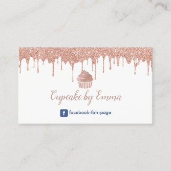 bakery cupcake modern rose gold dripping business card