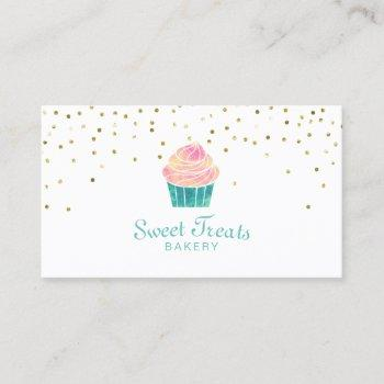 bakery cupcake sweet treats gold confetti business card