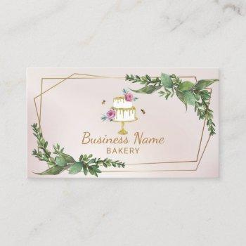 bakery pastry chef botanical floral sweet cake business card