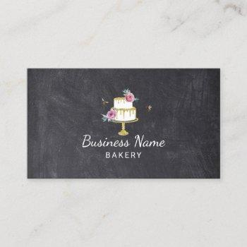 bakery pastry chef flower & bees cake chalkboard business card