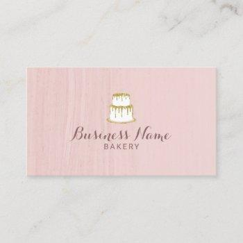 bakery pastry chef gold dripping cake blush pink business card
