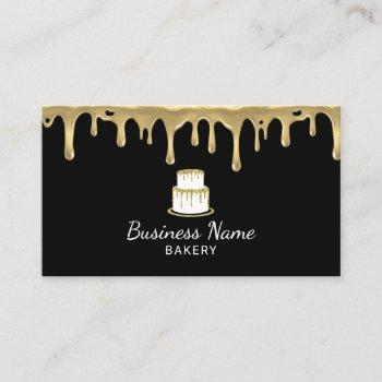 bakery pastry chef modern black & gold cake logo business card