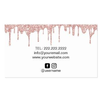 Small Bakery Pastry Chef Modern Rose Gold Drips #2 Business Card Back View