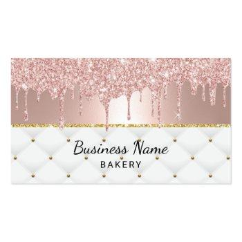 Small Bakery Pastry Chef Modern Rose Gold Drips #2 Business Card Front View