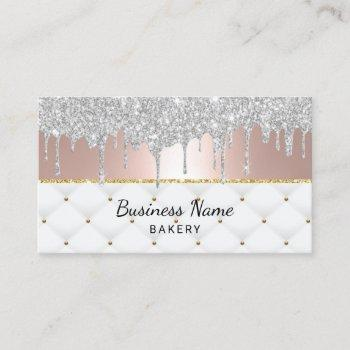 bakery pastry chef modern silver drips rose gold business card