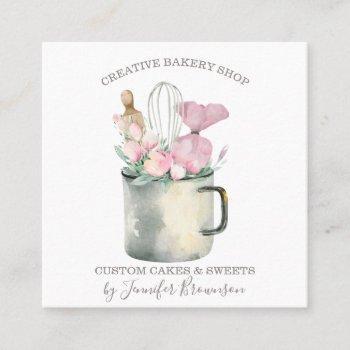bakery pastry chef mug boho chic square business card