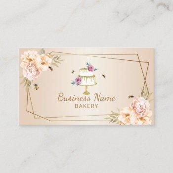 bakery pastry chef pearl flower & bees sweet cake business card