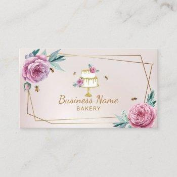 bakery pastry chef pink flower & bees sweet cake business card