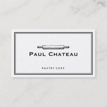 bakery pastry chef rolling pin baker logo white business card