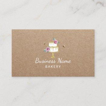 bakery pastry chef rustic flower & bees cake kraft business card