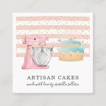 bakery pastry chef watercolor mixer cake square business card