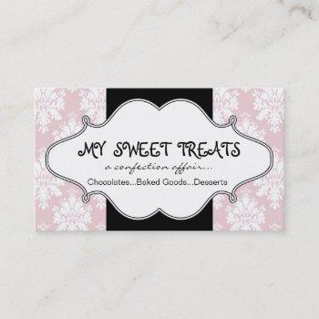 bakery pink damask business card